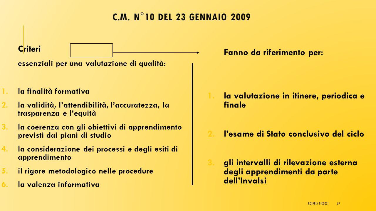 C.M. n°10 del 23 gennaio 2009 Criteri