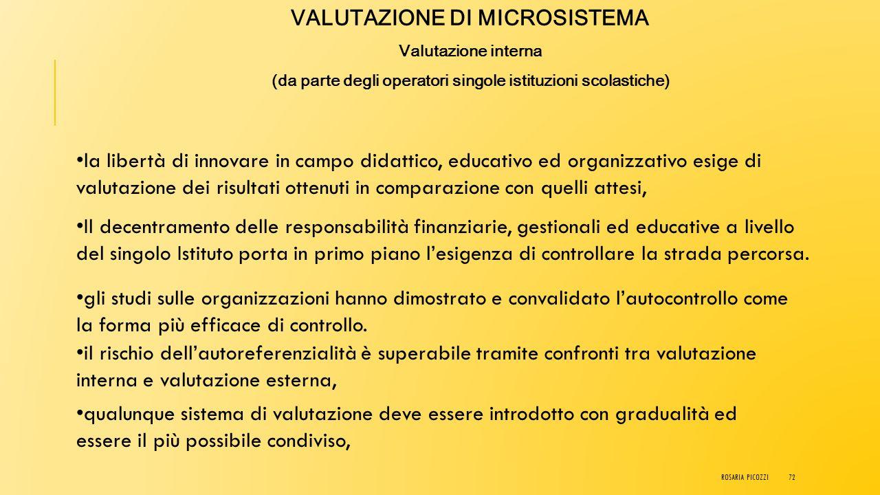 VALUTAZIONE DI MICROSISTEMA