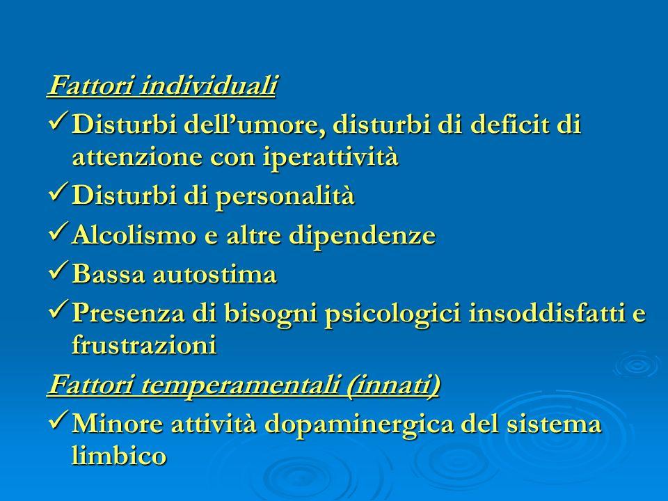 Fattori individuali Disturbi dell'umore, disturbi di deficit di attenzione con iperattività. Disturbi di personalità.