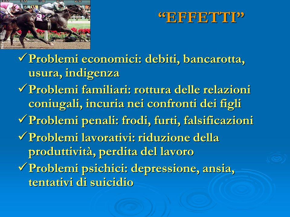 EFFETTI Problemi economici: debiti, bancarotta, usura, indigenza
