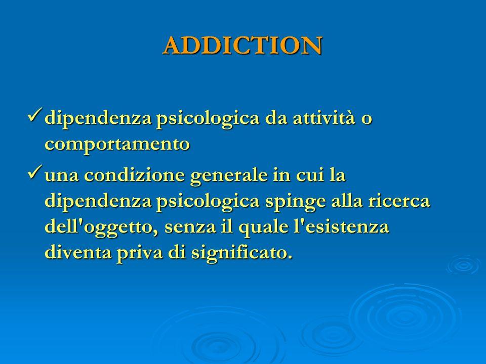 ADDICTION dipendenza psicologica da attività o comportamento