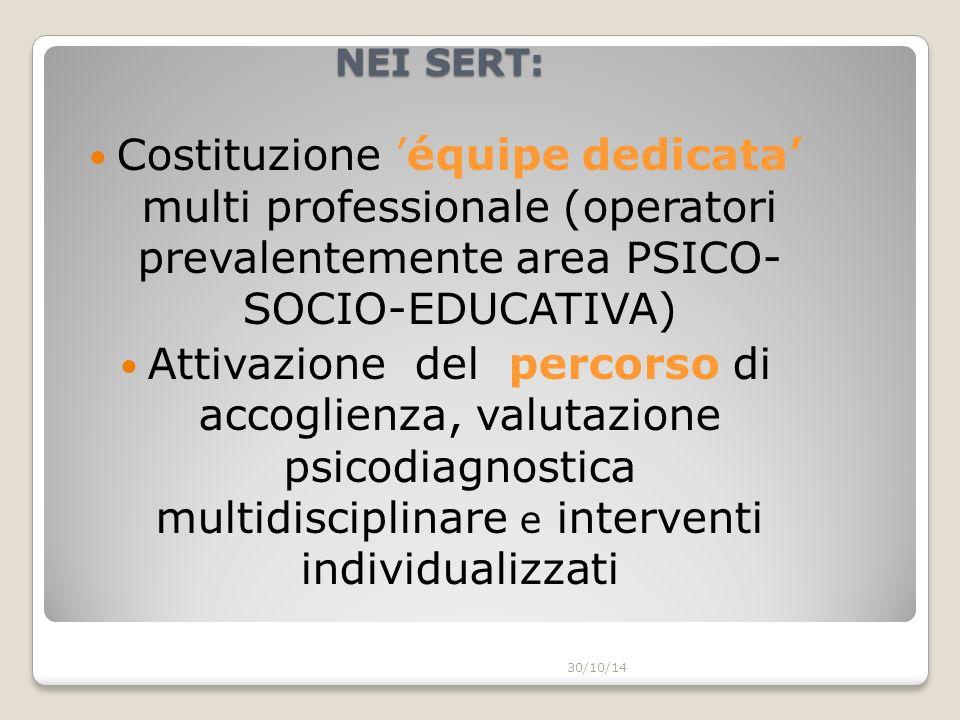 NEI SERT: Costituzione 'équipe dedicata' multi professionale (operatori prevalentemente area PSICO- SOCIO-EDUCATIVA)