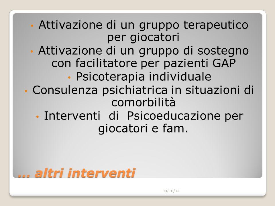 … altri interventi Attivazione di un gruppo terapeutico per giocatori