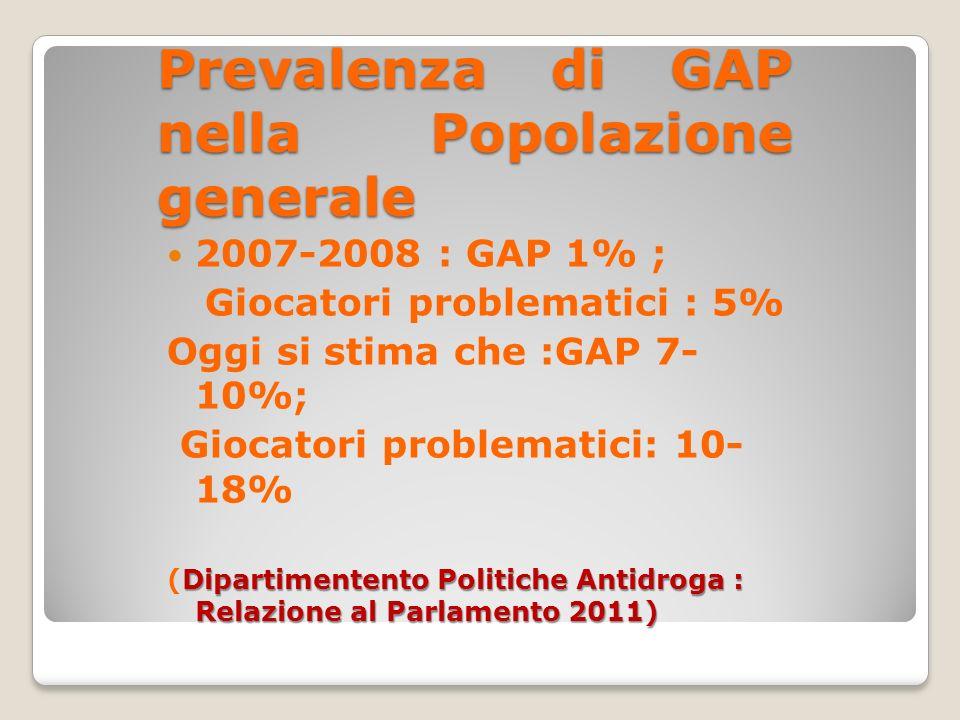 Prevalenza di GAP nella Popolazione generale