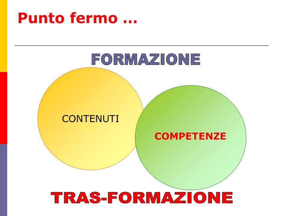 Punto fermo … FORMAZIONE CONTENUTI COMPETENZE TRAS-FORMAZIONE