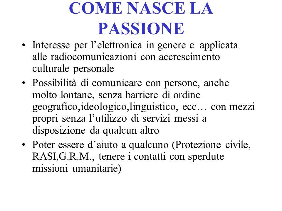 COME NASCE LA PASSIONE Interesse per l'elettronica in genere e applicata alle radiocomunicazioni con accrescimento culturale personale.
