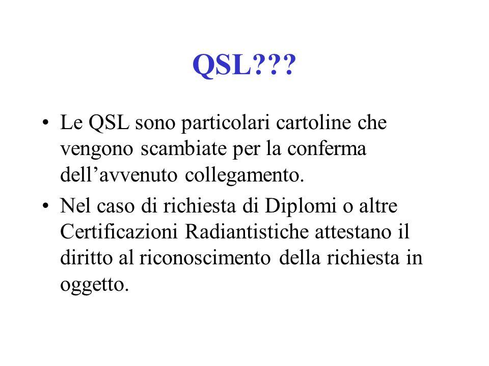 QSL Le QSL sono particolari cartoline che vengono scambiate per la conferma dell'avvenuto collegamento.