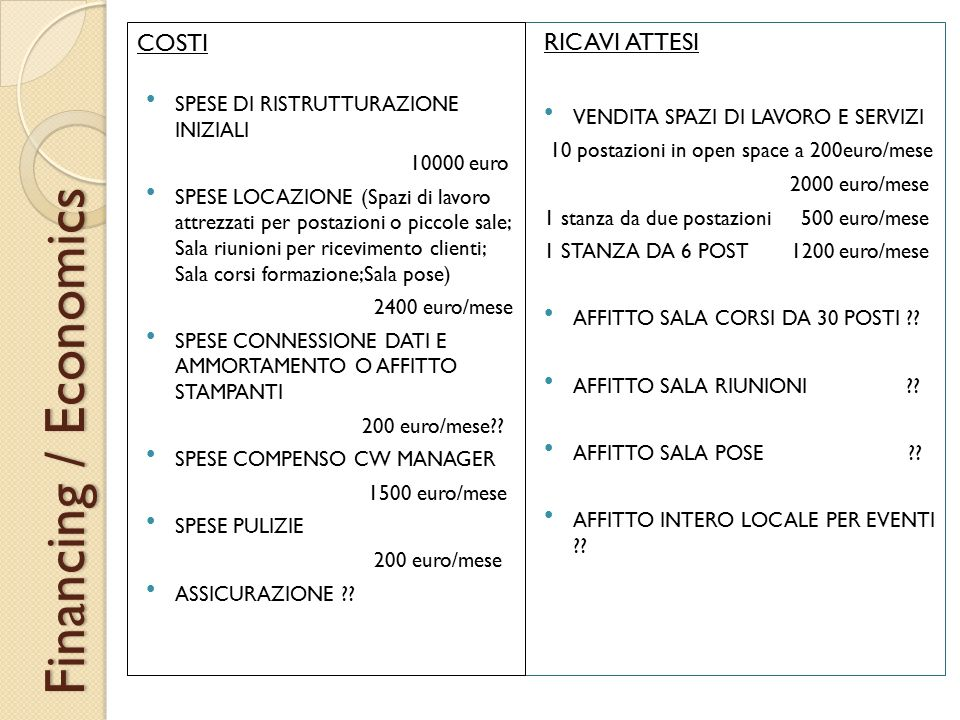 Financing / Economics COSTI RICAVI ATTESI