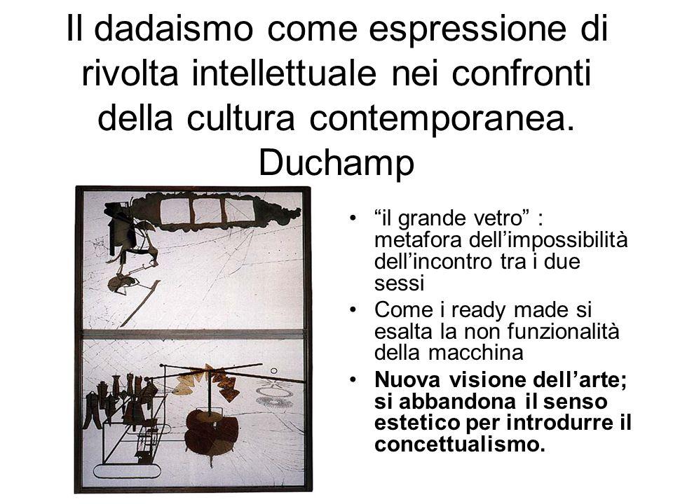 Il dadaismo come espressione di rivolta intellettuale nei confronti della cultura contemporanea. Duchamp