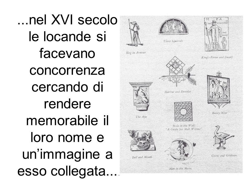 ...nel XVI secolo le locande si facevano concorrenza cercando di rendere memorabile il loro nome e un'immagine a esso collegata...