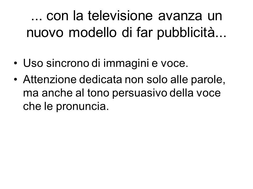 ... con la televisione avanza un nuovo modello di far pubblicità...