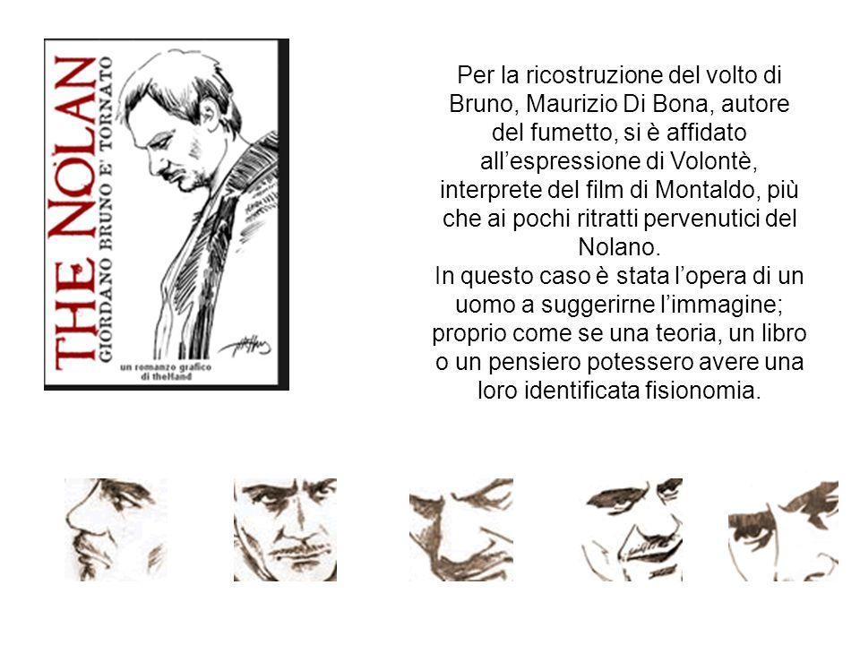 Per la ricostruzione del volto di Bruno, Maurizio Di Bona, autore del fumetto, si è affidato all'espressione di Volontè, interprete del film di Montaldo, più che ai pochi ritratti pervenutici del Nolano.