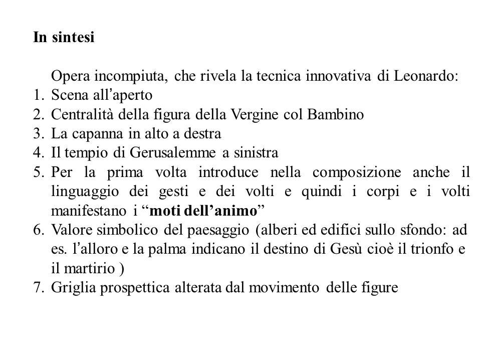 Opera incompiuta, che rivela la tecnica innovativa di Leonardo: