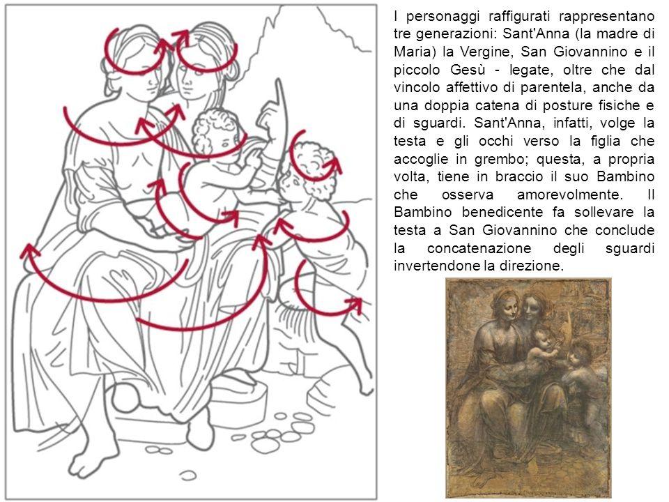 I personaggi raffigurati rappresentano tre generazioni: Sant Anna (la madre di Maria) la Vergine, San Giovannino e il piccolo Gesù - legate, oltre che dal vincolo affettivo di parentela, anche da una doppia catena di posture fisiche e di sguardi.
