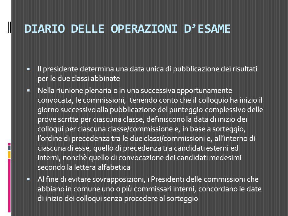 DIARIO DELLE OPERAZIONI D'ESAME