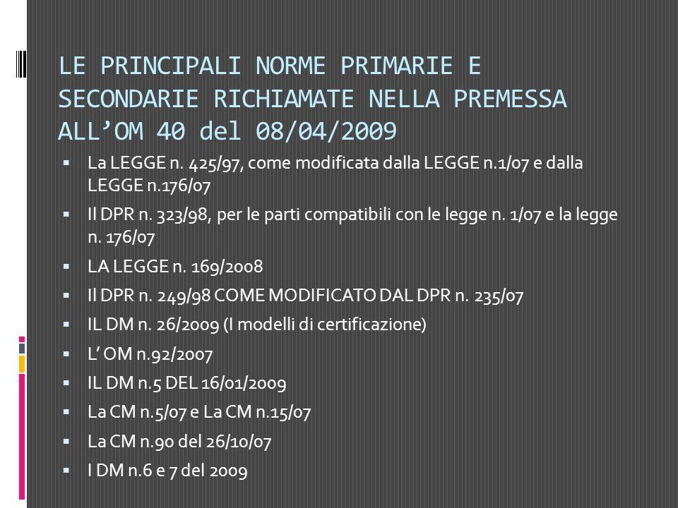 LE PRINCIPALI NORME PRIMARIE E SECONDARIE RICHIAMATE NELLA PREMESSA ALL'OM 40 del 08/04/2009