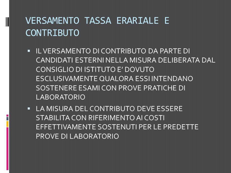 VERSAMENTO TASSA ERARIALE E CONTRIBUTO