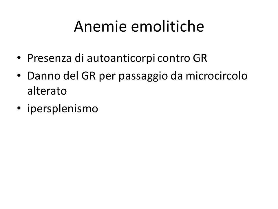 Anemie emolitiche Presenza di autoanticorpi contro GR