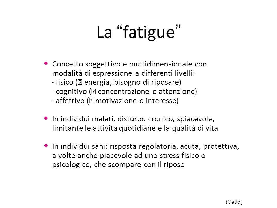La fatigue Concetto soggettivo e multidimensionale con modalità di espressione a differenti livelli: