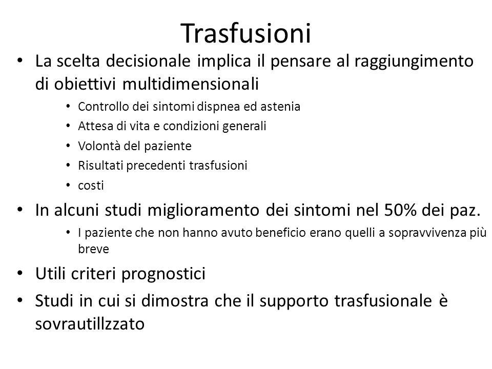 Trasfusioni La scelta decisionale implica il pensare al raggiungimento di obiettivi multidimensionali.