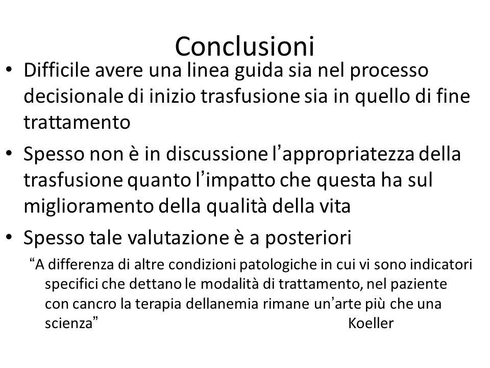 Conclusioni Difficile avere una linea guida sia nel processo decisionale di inizio trasfusione sia in quello di fine trattamento.