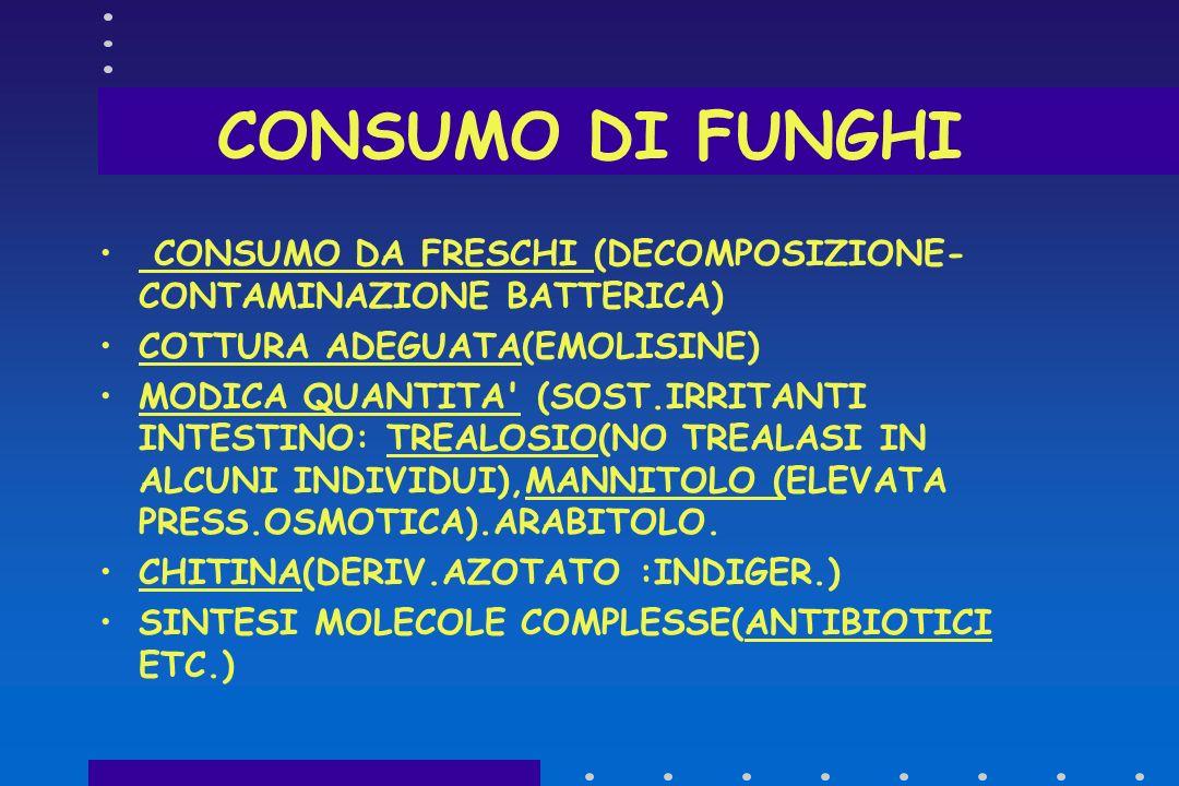 CONSUMO DI FUNGHI CONSUMO DA FRESCHI (DECOMPOSIZIONE-CONTAMINAZIONE BATTERICA) COTTURA ADEGUATA(EMOLISINE)