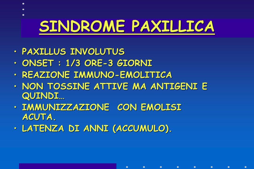 SINDROME PAXILLICA PAXILLUS INVOLUTUS ONSET : 1/3 ORE-3 GIORNI