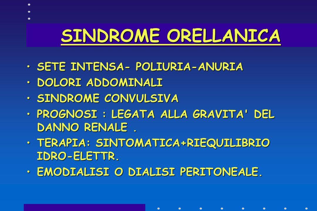SINDROME ORELLANICA SETE INTENSA- POLIURIA-ANURIA DOLORI ADDOMINALI