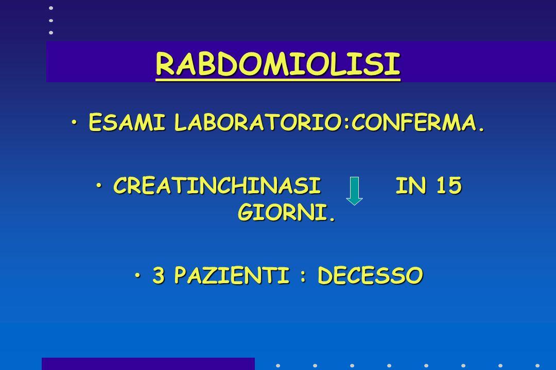 ESAMI LABORATORIO:CONFERMA. CREATINCHINASI IN 15 GIORNI.