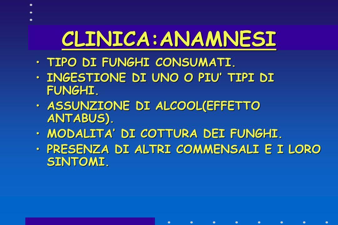 CLINICA:ANAMNESI TIPO DI FUNGHI CONSUMATI.