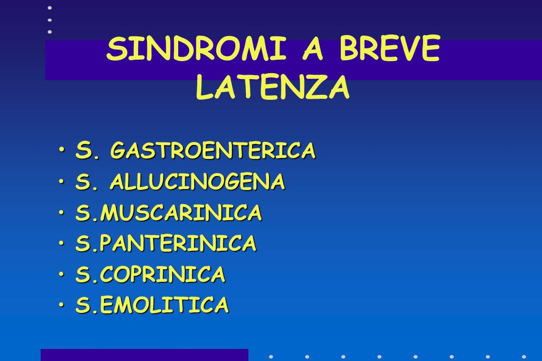 SINDROMI A BREVE LATENZA