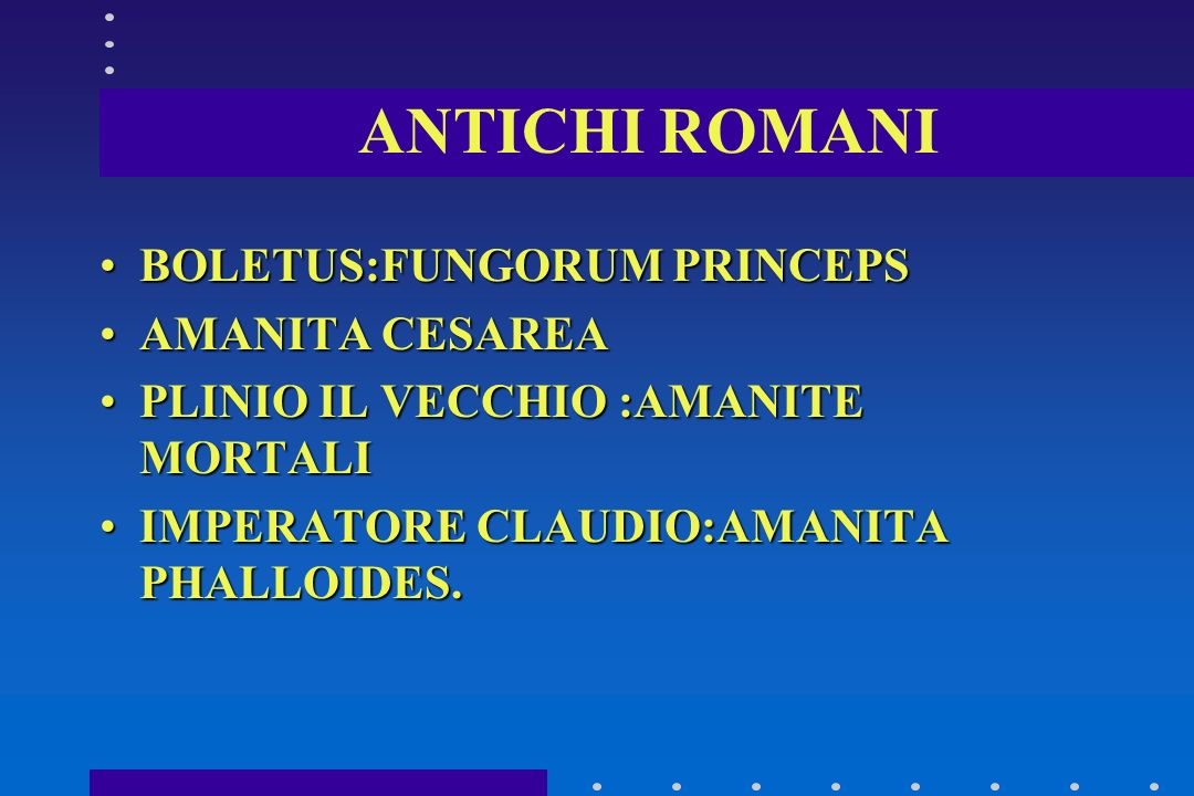 ANTICHI ROMANI BOLETUS:FUNGORUM PRINCEPS AMANITA CESAREA