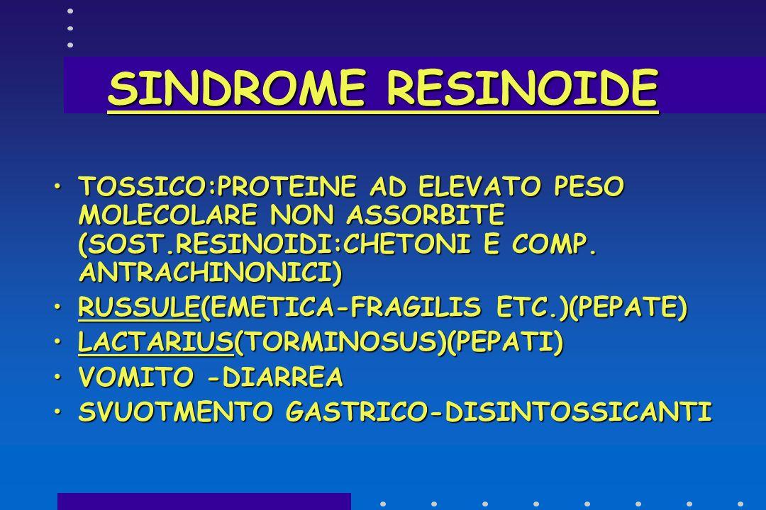 SINDROME RESINOIDE TOSSICO:PROTEINE AD ELEVATO PESO MOLECOLARE NON ASSORBITE (SOST.RESINOIDI:CHETONI E COMP. ANTRACHINONICI)