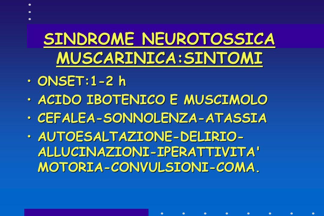 SINDROME NEUROTOSSICA MUSCARINICA:SINTOMI