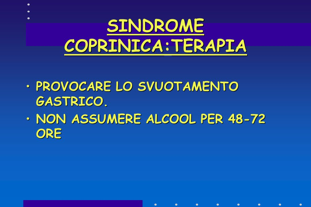 SINDROME COPRINICA:TERAPIA