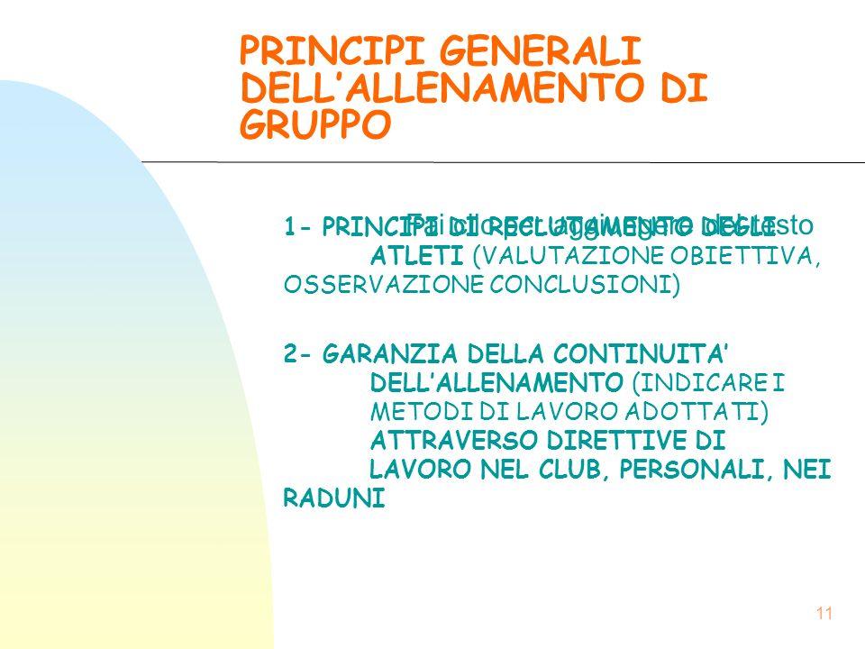 PRINCIPI GENERALI DELL'ALLENAMENTO DI GRUPPO