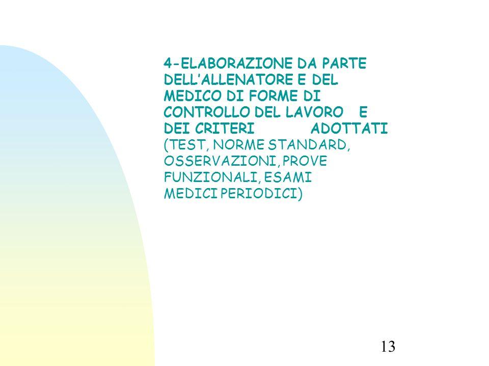 13/09/15 4-ELABORAZIONE DA PARTE DELL'ALLENATORE E DEL MEDICO DI FORME DI CONTROLLO DEL LAVORO E DEI CRITERI ADOTTATI.