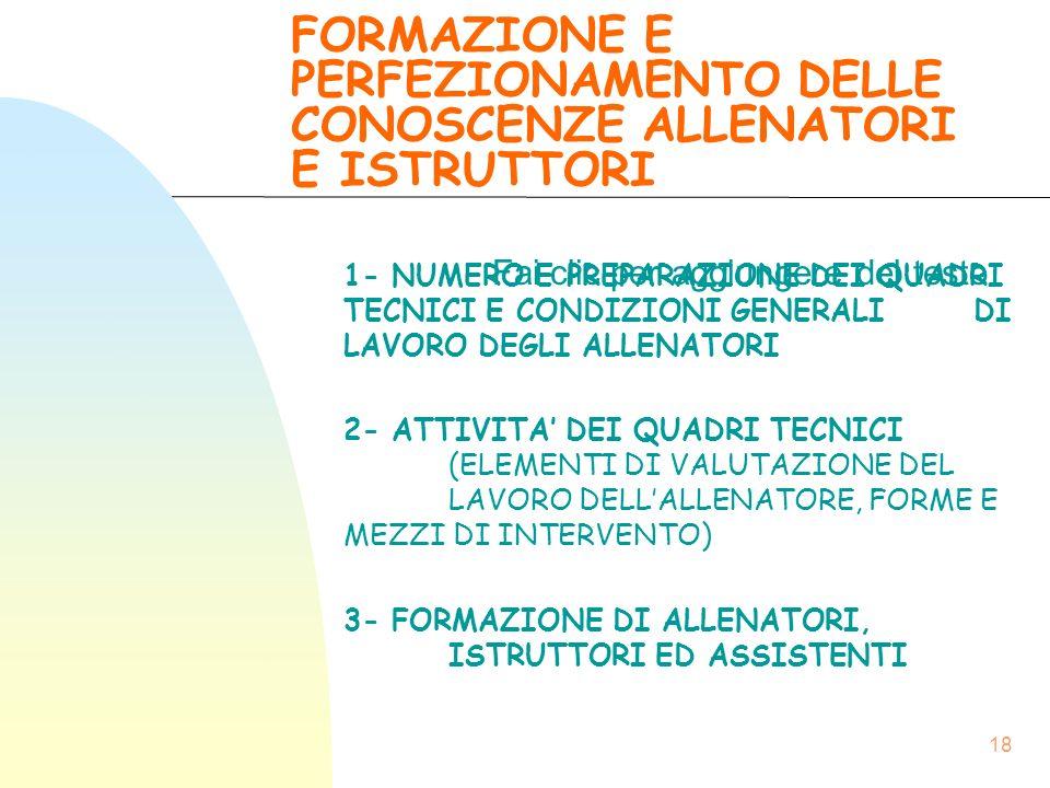 FORMAZIONE E PERFEZIONAMENTO DELLE CONOSCENZE ALLENATORI E ISTRUTTORI