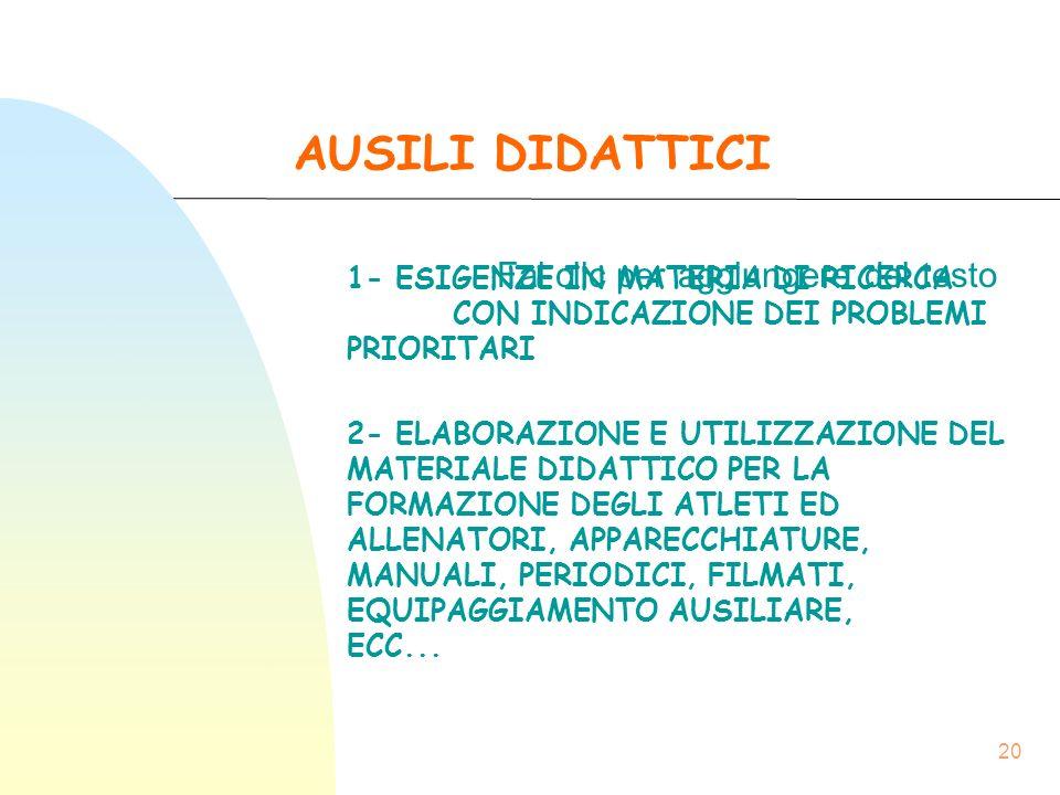 13/09/15 AUSILI DIDATTICI. 1- ESIGENZE IN MATERIA DI RICERCA CON INDICAZIONE DEI PROBLEMI PRIORITARI.