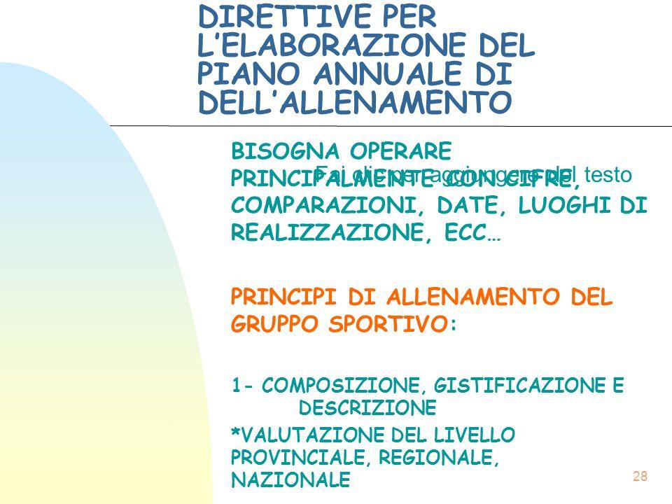 DIRETTIVE PER L'ELABORAZIONE DEL PIANO ANNUALE DI DELL'ALLENAMENTO