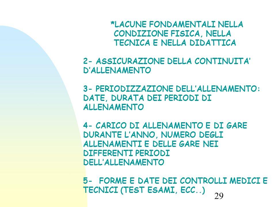 2- ASSICURAZIONE DELLA CONTINUITA' D'ALLENAMENTO
