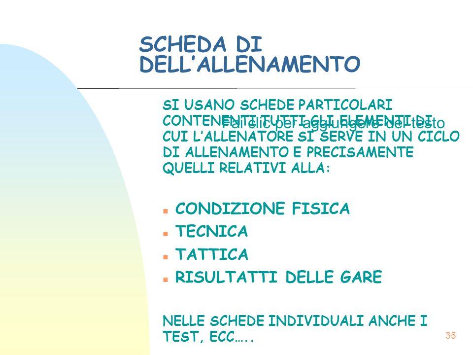SCHEDA DI DELL'ALLENAMENTO