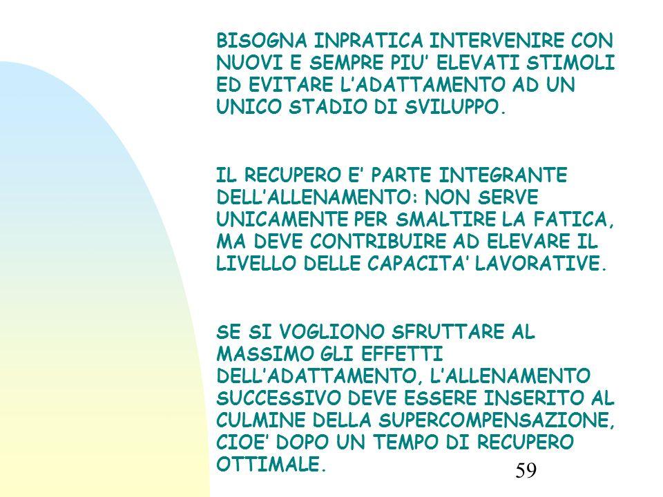 13/09/15 BISOGNA INPRATICA INTERVENIRE CON NUOVI E SEMPRE PIU' ELEVATI STIMOLI ED EVITARE L'ADATTAMENTO AD UN UNICO STADIO DI SVILUPPO.