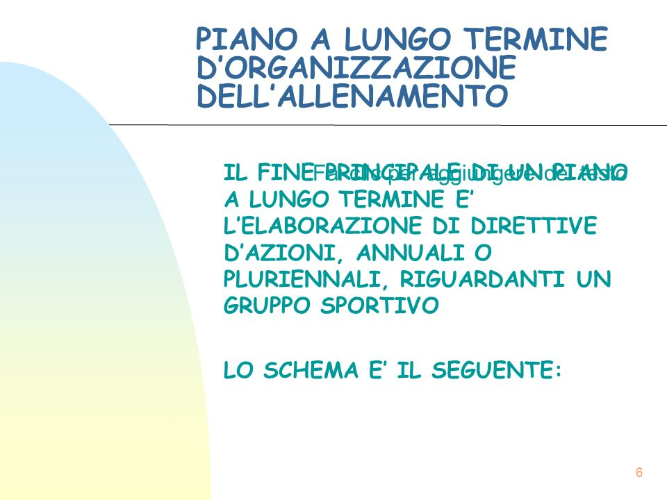 PIANO A LUNGO TERMINE D'ORGANIZZAZIONE DELL'ALLENAMENTO
