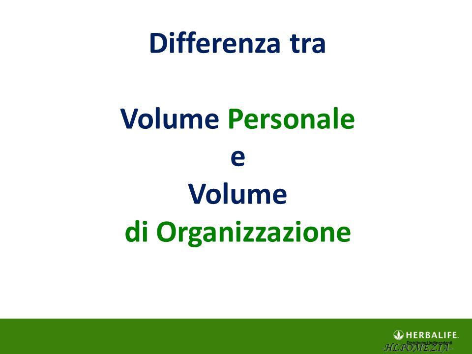 Differenza tra Volume Personale e Volume di Organizzazione