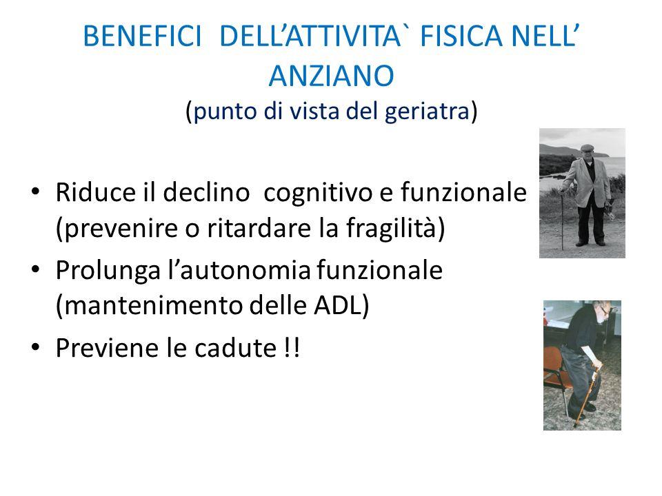 BENEFICI DELL'ATTIVITA` FISICA NELL' ANZIANO (punto di vista del geriatra)