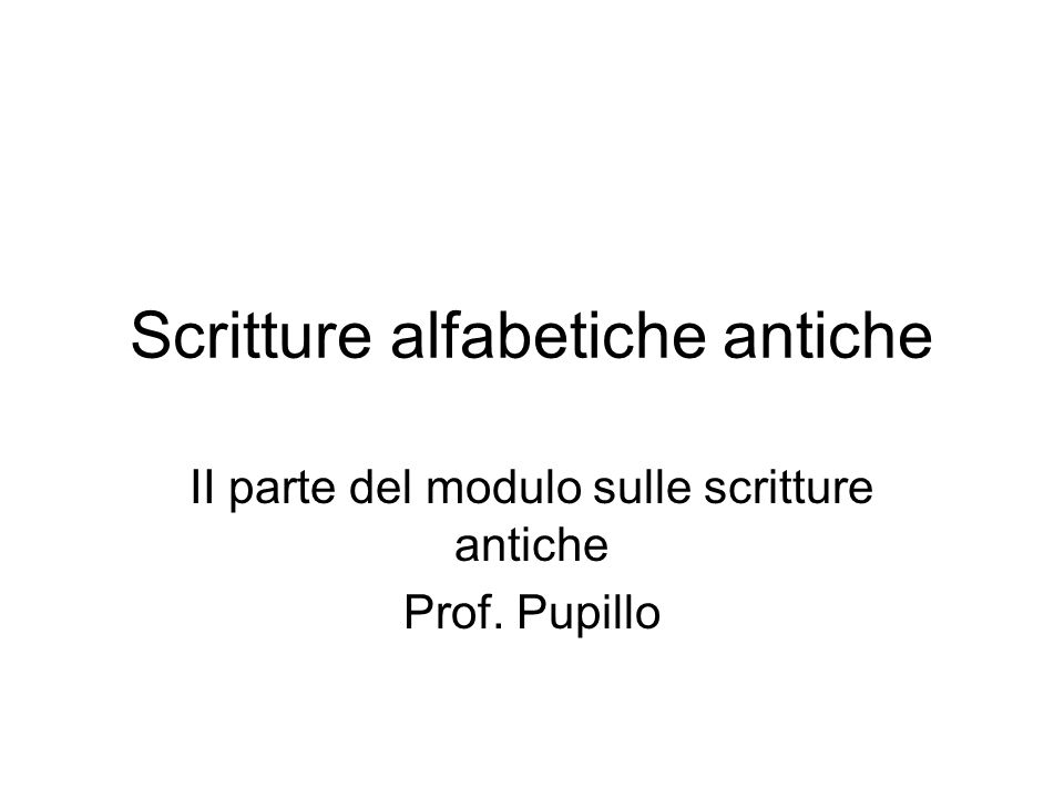 Scritture alfabetiche antiche