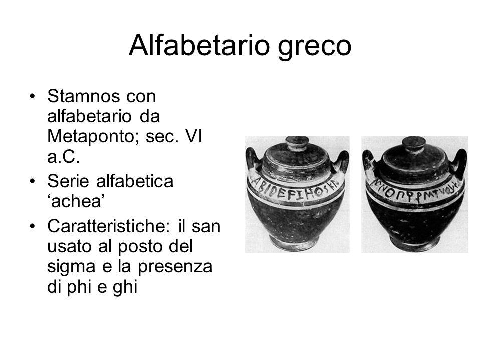 Alfabetario greco Stamnos con alfabetario da Metaponto; sec. VI a.C.
