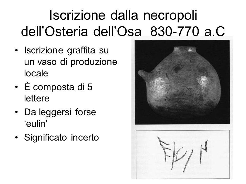 Iscrizione dalla necropoli dell'Osteria dell'Osa 830-770 a.C