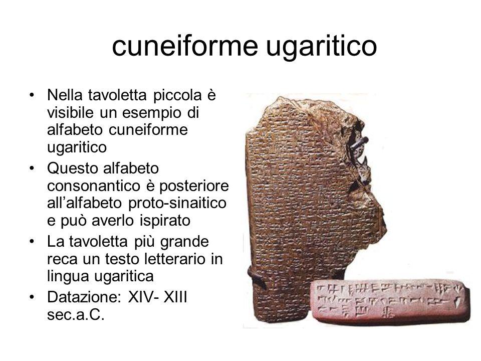 cuneiforme ugaritico Nella tavoletta piccola è visibile un esempio di alfabeto cuneiforme ugaritico.